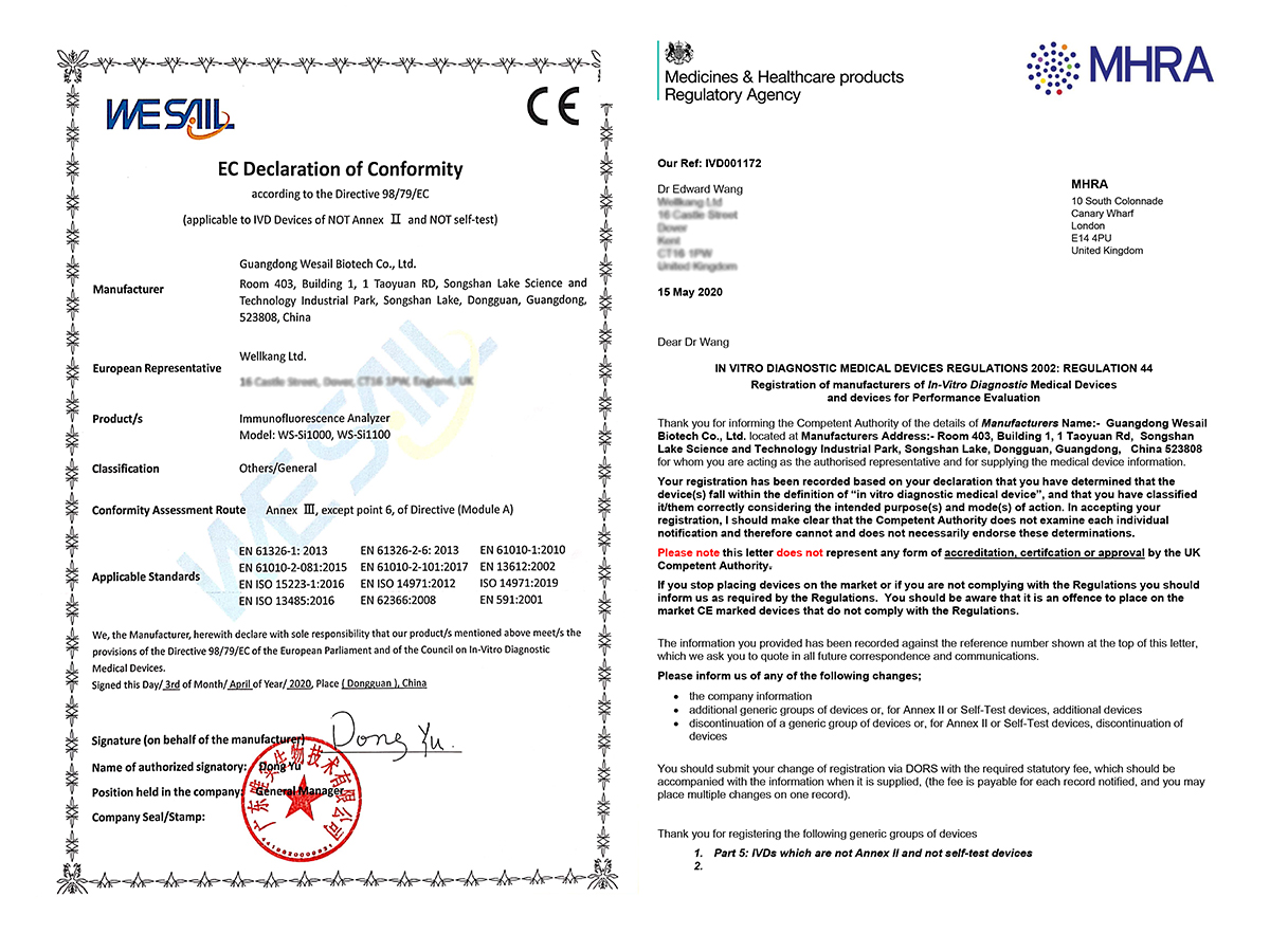 CE Certificate of Single-Channel Immunofluorescence Analyzer